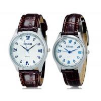 МИЛЕР 6911 Кристалл оформлен аналоговые часы пара с искусственного Кожаный ремешок М.
