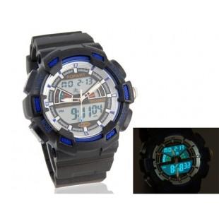 мужские Стильные водостойкие Аналоговые и цифровые часы (синие)
