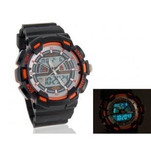 мужские Стильные водостойкие Аналоговые и цифровые часы (оранжевый)
