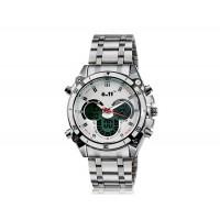 Купить мужские 551B Dual Watch с будильником и подсветкой (белые)
