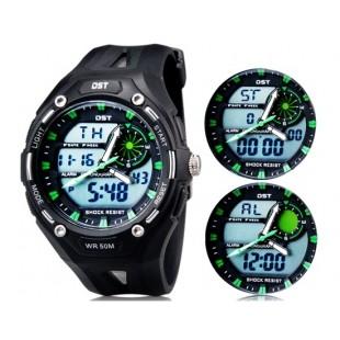Так AD1304 50m водонепроницаемые спортивные часы с силиконовым ремешком (черные)