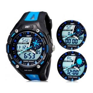 Так AD1304 50m водонепроницаемые спортивные часы с силиконовым ремешком (синие)