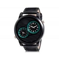 Аналоговые часы с кожаным ремешком (черные)