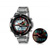 Weide 1104 Водонепроницаемые спортивные часы с нержавеющим браслетом (красные)