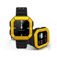 MFOX AWATCH IP68 Waterproof Bluetooth Android Smart Watch Built-in Heart Rate Sensor E-Compass 4GB ROM WIFI (Black&Yellow)