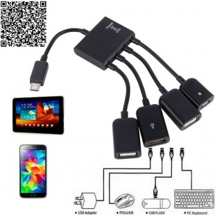 4-х портовый OTG-хаб: 3 порта USB для данных, 1 порт Micro-USB для зарядки