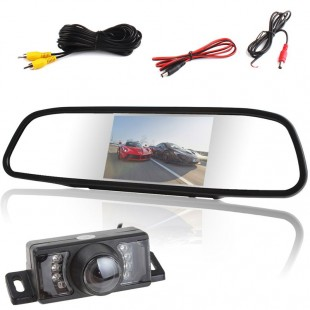 Автомобильное зеркало заднего вида с парковочной камерой и встроенным LCD экраном