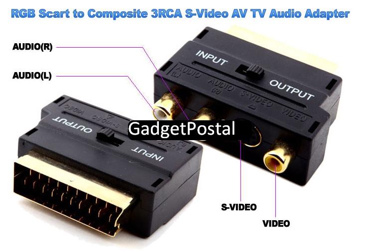 RGB Scart to Composite 3RCA S-Video AV TV Audio купить в интернет магазине Gadgetpostal.ru