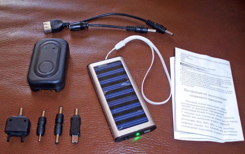 Зарядка телефонов от солнечной батареи с набором различных адаптеров